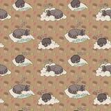 Bezszwowy wzór z sypialnymi zwierzętami Obraz Stock