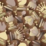 Bezszwowy wzór z szachowymi kawałkami Obrazy Royalty Free