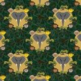 Bezszwowy wzór z szarym słoniem ilustracja wektor