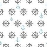 Bezszwowy wzór z szarymi rudders i błękit kotwicami Nautyczny th Obrazy Stock