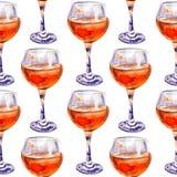 Bezszwowy wzór z szkłami sok pomarańczowy obraz stock