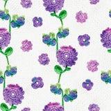 Bezszwowy wzór z szydełkowymi kwiatami i liśćmi Multicolor handmade bridal, wiosny wielkanoc, urodzinowy świętowania tło z fl obraz royalty free