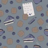 Bezszwowy wzór z tortami, czarną jagodą i kawą. Fotografia Royalty Free