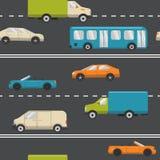 Bezszwowy wzór z transportem na drodze Fotografia Stock