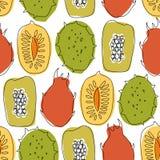 Bezszwowy wzór z tropikalnymi egzotycznymi owoc, mango, melonowiec, durian, carambola, wektor rysujący tło Zdjęcie Stock