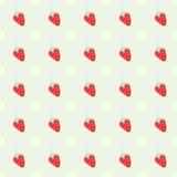 Bezszwowy wzór z truskawką i kwiatami Zdjęcie Royalty Free