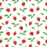 Bezszwowy wzór z truskawkami i liśćmi Royalty Ilustracja