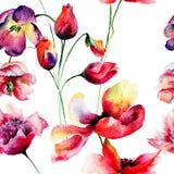 Bezszwowy wzór z tulipanów i maczka kwiatami Fotografia Stock