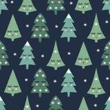 Bezszwowy wzór z uśmiechniętymi dosypiania xmas drzewami i płatkami śniegu szczęśliwego nowego roku tło ilustracji