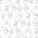 Bezszwowy wzór z uroczymi ślicznymi rozochoconymi prosiątkami Zimy tło w ręka rysującym stylu royalty ilustracja