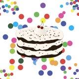 Bezszwowy wzór z urodzinowym tortem ilustracja wektor