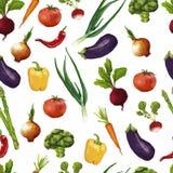 Bezszwowy wzór z warzywami w akwareli Royalty Ilustracja
