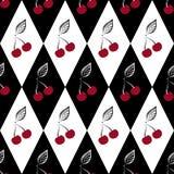 Bezszwowy wzór z wiśniami na czarny i biały Zdjęcia Stock