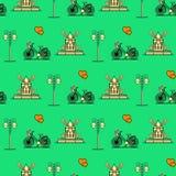 Bezszwowy wzór z wiatraczkiem, bicykl, lampion ilustracja wektor