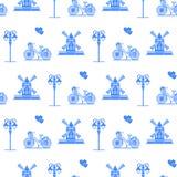 Bezszwowy wzór z wiatraczkiem, bicykl, lampion ilustracji