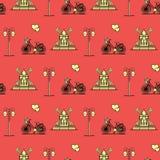 Bezszwowy wzór z wiatraczkiem, bicykl, lampion royalty ilustracja