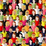 Bezszwowy wzór z wielką grupą dziewczyny i kobiety płaska ilustracja żeńska społeczność royalty ilustracja