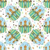 Bezszwowy wzór z wielkanocy barwionymi jajkami Świątynia kościół wielkanoc szczęśliwy świątecznie tło Projekt dla sztandaru, plak ilustracji