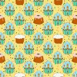 Bezszwowy wzór z wielkanocy barwionymi jajkami Świątynia kościół wielkanoc szczęśliwy świątecznie tło royalty ilustracja