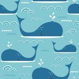 Bezszwowy wzór z wielorybami royalty ilustracja