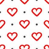 Bezszwowy wzór z wielostrzałowymi round kropkami, sercami rysującymi ręcznie z szorstkim muśnięciem i Grunge, graffiti, farba ilustracji