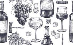 Bezszwowy wzór z wina pić ilustracji