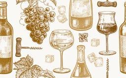 Bezszwowy wzór z wina pić ilustracja wektor