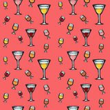 Bezszwowy wzór z winem i koktajlami Zdjęcia Stock