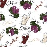 Bezszwowy wzór z winogronami i wino butelkami Obraz Stock