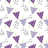 Bezszwowy wzór z winogronami i ziarnami royalty ilustracja