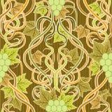 Bezszwowy wzór z winogronem w sztuki nouveau stylu Obraz Royalty Free