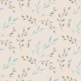 Bezszwowy wzór z wiosny wierzbą kwitnie i liście Wielkanocna ręka rysujący tło z wierzby gałąź kwiecisty ilustracji
