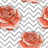 Bezszwowy wzór z wizerunek menchii różą kwitnie na geometrycznym tle ilustracji