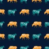 Bezszwowy wzór z wizerunkiem sylwetki krowy i kwiaty ilustracji