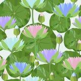 Bezszwowy wzór z wodnej lelui liśćmi i kwiatami również zwrócić corel ilustracji wektora ilustracji