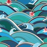 Bezszwowy wzór z wodnymi fala i lelujami Fotografia Stock