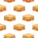 Bezszwowy wzór z wyśmienicie kanapkami na białym tle Smakowity apetyczny fasta food posiłek dla lunchu lub gościa restauracji ilustracja wektor