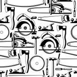Bezszwowy wzór z wyposażeniem i narzędziami dla leśnictwa i tarcica przemysłu Obrazy Stock