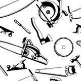 Bezszwowy wzór z wyposażeniem i narzędziami dla leśnictwa i tarcica przemysłu Obraz Royalty Free