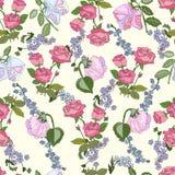Bezszwowy wzór z wzrastał kwiaty royalty ilustracja