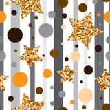 Bezszwowy wzór z złocistą błyskotliwością textured gwiazdy Zdjęcia Royalty Free