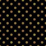 Bezszwowy wzór z złocistym błyskotliwości polki kropki ornamentem na czarnym tle Zdjęcie Stock