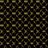 Bezszwowy wzór z złocistymi koronami Fotografia Stock