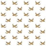 Bezszwowy wzór z złotymi ptakami Zdjęcie Stock