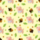 Bezszwowy wzór z zabawkarską dziecko świnią Obrazy Stock
