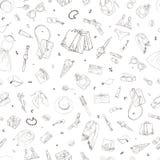Bezszwowy wzór z zakupy ikonami Kobieta wakacyjny zakup, ręka rysujący tło Zdjęcia Stock