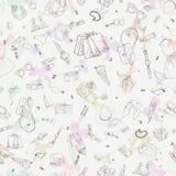 Bezszwowy wzór z zakupy ikonami Kobieta wakacyjny zakup, ręka rysujący tło Zdjęcie Royalty Free