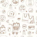 Bezszwowy wzór z zakupy ręki rysować dekoracyjnymi ikonami Obrazy Royalty Free