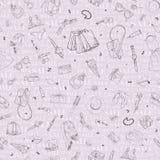 Bezszwowy wzór z zakupy sprzedaży ikonami Kobieta wakacyjny zakup, ręka rysujący tło Zdjęcie Royalty Free