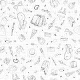 Bezszwowy wzór z zakupy sprzedaży ikonami Kobieta wakacyjny zakup, ręka rysujący tło Zdjęcia Royalty Free
